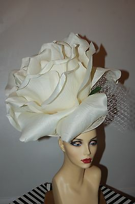 Giant50Cm Ivory Rose Fascinator Ideal For Ascot By Hats2Go Ex Display No Return