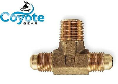 "3/8"" Flare Tube X 1/4"" Male NPT Pipe Thread Brass Branch Tee Coyote Gear"