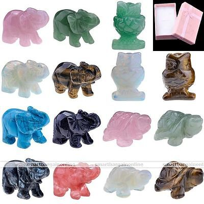 Figurine Lucky Natural Gem Stone Carved Quartz Fengshui Statue Home Room Decor
