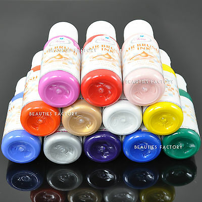 12 Color Professional Airbrush Paint Nail Art Painting Craft Figure 109N