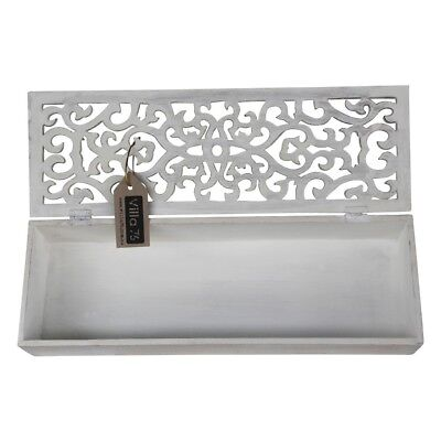 45cm Hand Carved Wooden Box in White Wash with Vine Design