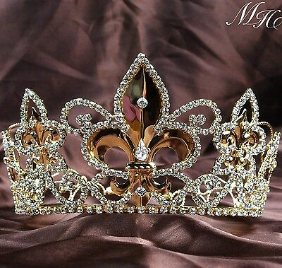 Noble Full Round Crowns King Queen Gold Tiaras Wedding Bridal Pageant Prom Party