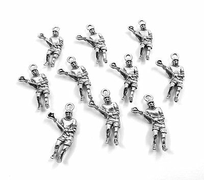 Set of Ten (10) Pewter Lacrosse Player Charms -1500