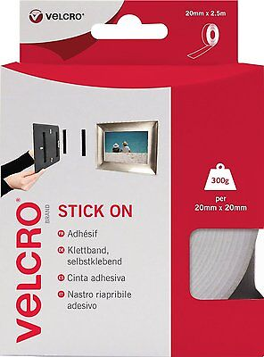 VELCRO® BRAND 20mm x 2.5 meters WHITE SELF ADHESIVE HOOK & LOOP STICKY BACK TAPE