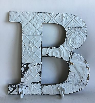"""Large Antique Tin Ceiling Wrapped 16"""" Letter 'B' Patchwork  Mosaic White Hooks"""