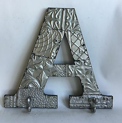 "Large Reclaimed Tin Ceiling Wrapped 16"" Letter 'A' Patchwork Metal Silver Hooks"