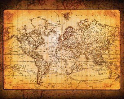 World Map Antique Vintage Old Style Decorative Educational Poster Print, 16x20