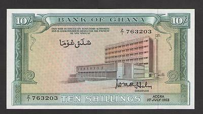 GHANA  10  Shillings  1963  Prefix Z/1  P 1d   Uncirculated
