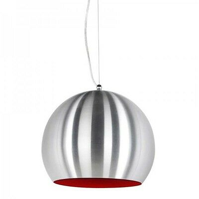 "Paris Prix - Lampe Suspension ""Bulbo"" Chrome & Rouge"