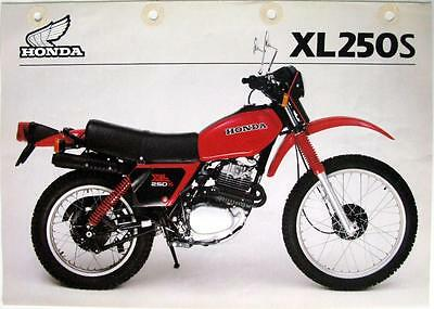 HONDA XL250S - Motorcycle Sales Spec Sheet - May 1981