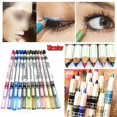 12 Color Purpurina Delineador De Ojos Pencil Liner Ojo Cosmético Maquillaje Set