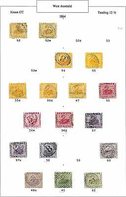 Western Australia stamps 1864 SG 52-62  SWANS specialised  CANC  VF