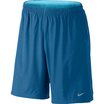 "Nike 9"" Phenom 2 in 1 Mens Running Shorts - Blue"