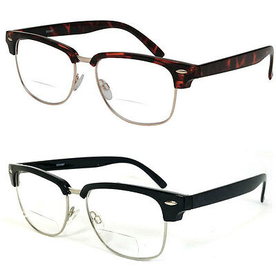 clubmaster square horned rim men women bifocal reading glasses clear lens re47