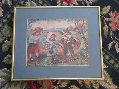 Picture print little girls and boy antique reproduction cottage walking path