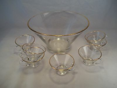 Vintage Mid Century Punch Bowl 7 cups clear smooth clear glass gold trim retro
