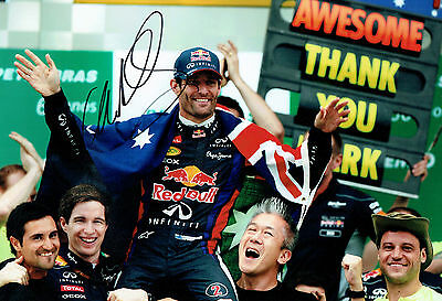 Mark WEBBER Signed Autograph 12 x 8 Photo AFTAL COA F1 Red Bull AUSSIE Driver