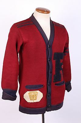 Vintage 30S Wool Letterman Varsity Cardigan Sweater Usa Mens Small