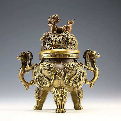 Asian Collectible ancient Old Bronze Dragon Tiger Incense Burner