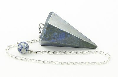 Lapis Lazuli Faceted Pendulum with Sterling Silver Chain