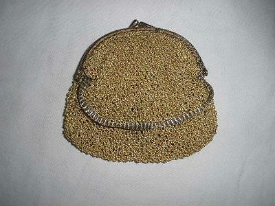 Retro Vintage Hand Knitted Ladies Purse Gold
