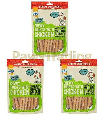 3 x Good Boy Dog Chewy Twists with Chicken 320g VALUE PACK Pawsley Hide Treats