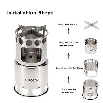 Portable Stainless Steel Lightweight Wood Stove Outdoor Cooking Camping S1K9