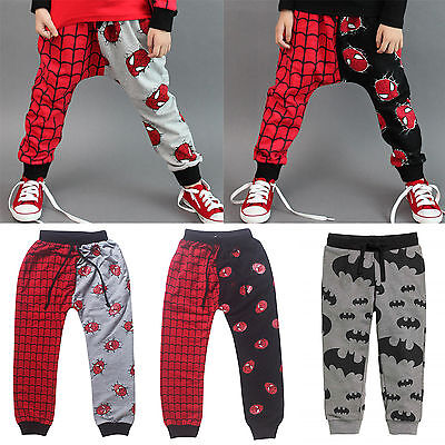 Spiderman Batman Sweatpants Summer Toddler Baby Boys Trousers Joggers Jeggings