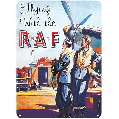 Flying With The Raf A5 Steel Sign Tin Picture Wall Art Retro Plaque War Ww2