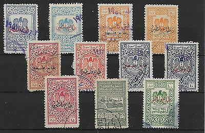 PALESTINE S/CARD CONTAINING 1920's O/PRINTS ON SYRIA REVENUES USED