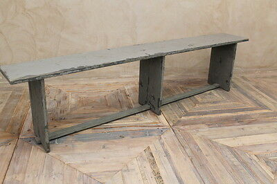 Worn Grey Bench Vintage Seating Painted Wooden Farmhouse Bench Kitchen Seating