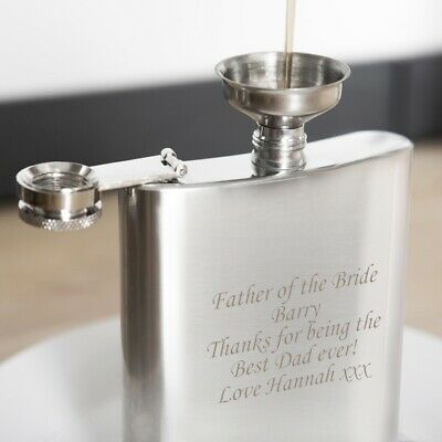 Personalized Engraved SS 6oz Hip Flask, Funnel & Gift box - Birthdays, Weddings
