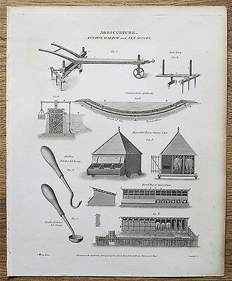 1818 Agriculture Farming Potato Harrow Set Scoops Antique Print Engraving Rees