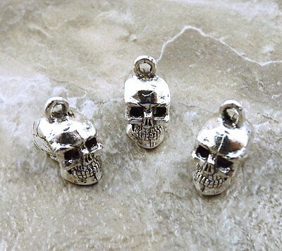 Set of 3 Pewter Silver Plated Skull Charms - 2955