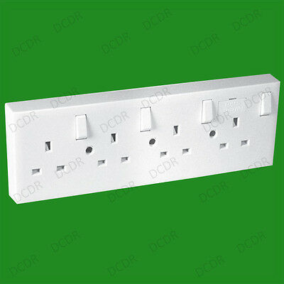 Mains Switched Wall Converter Socket 1 or 2 to 4 Gang, 13A Fused 3 Flat Pin Plug