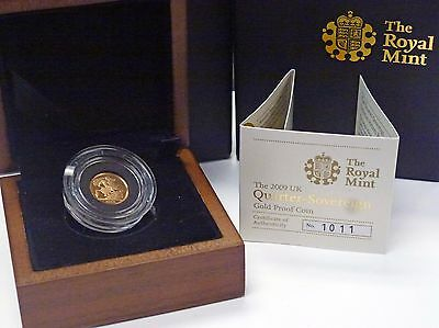 {BJStamps} 2009 Great Britain QUARTER SOVEREIGN GOLD Proof w/ box COA