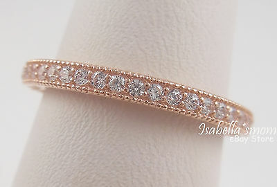 2d040000944 HEARTS OF PANDORA Band GENUINE Silver ROSE GOLD Plated RING Clear CZ 4.5 48