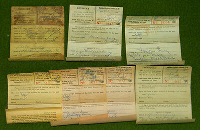 Vintage KENTUCKY 1930s-1960s Hunting & Fishing Permits License Collectors L@@K