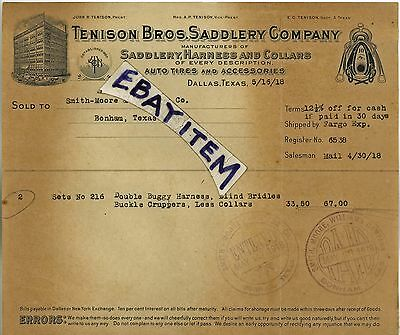 1918 billhead JOHN R. TENISON BROS. SADDLERY COMPANY Dallas Texas SADDLE MAKER