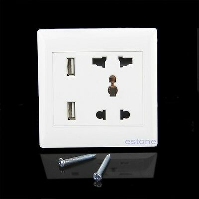 1X Dual USB Port Electric Wall Charger Station Socket Adapter Power Outlet Panel