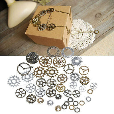 A Pack 50g Mix Alloy Mechanical Steampunk Cogs & Gears DIY Jewelry Craft HOT