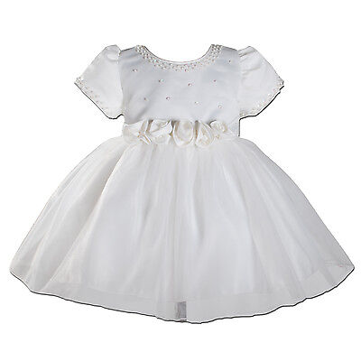 New Ivory Satin Christening Party Flower Girl Dress 6-9 Months