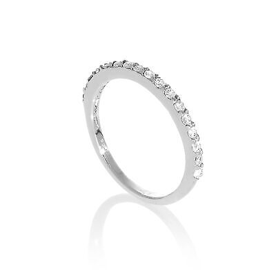 Sterling Silver & Clear CZ Crystal Half Eternity Ring Size H - W