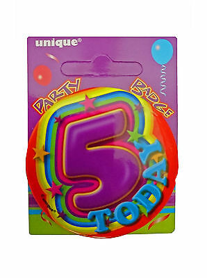 5 Today - 5th Birthday Party BADGE (5.5cm) (Gift/Craft/Card)(Boys/Girls) #81155