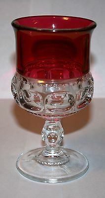 Vintage Collectible Indiana Glass King's Crown Thumbprint Ruby Trim 9 oz Goblet!