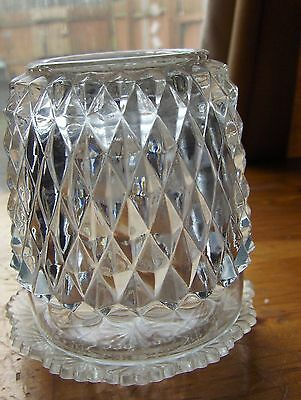 Indiana Glass Diamond Point Top Pressed Clear Glass Candle Holder Fairy Lamp