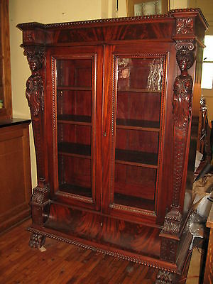 WE SHIP! 1850's-80's Victorian Flaming Mahogany Bookcase Carved Female Figurals