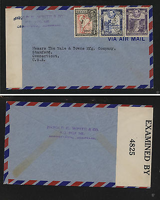 British  Guiana  nice franking  censor cover  to  US        MS1125