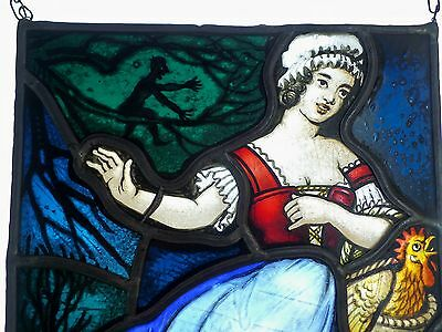 "Leaded glass original Art nouveau Window image Stained glass ""Maid and Devil"""