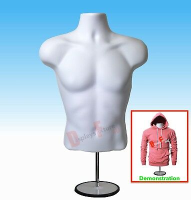 NEW Male Mannequin Hanger Torso Form + Stand,Display Apparel Men T-Shirt - WHITE